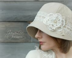 Linen & Lace Cloche Hat by GreenTrunkDesigns on Etsy