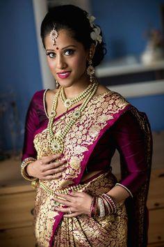 South Indian bride. Temple jewelry. Jhumkis.Silk kanchipuram sari.Bun with fresh flowers. Tamil bride. Telugu bride. Kannada bride. Hindu bride. Malayalee bride.