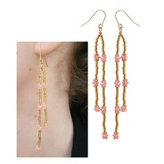 diy daisy chain øreringe i forgyldte seedbeads med koralfarvede blomster Cute Jewelry, Diy Jewelry, Beaded Jewelry, Jewelery, Jewelry Making, Lace Earrings, Seed Bead Earrings, Chain Earrings, Homemade Jewelry