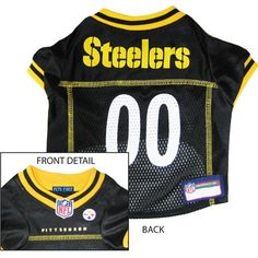Pittsburgh Steelers NFL Dog Jersey - Yellow Trim