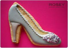 Bejewelled shoes~ awesome, by Rosey Sugar, grey, heels High Heel Cookies, Shoe Cookies, Fancy Cookies, Cupcake Cookies, Birthday Cookies, Fondant Cookies, Cupcakes, Vanilla Cookies, Iced Cookies