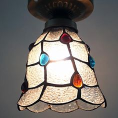 1 Light 40W Tiffany Grid Transparent With Gems Ceiling Lights – LightSuperDeal.com