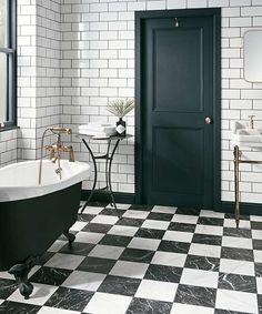 Ruzzini™   Topps Tiles Black And White Tiles Bathroom, White Bathroom Tiles, Marble Bathroom, Bathroom Interior Design, Topps Tiles, White Marble Bathrooms, White Bathroom, Black And White Marble, Bathroom Flooring