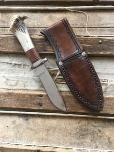 Handcrafted knife and sheath Heat Treating, Knife Sheath, Nursery Signs, Rustic Lighting, Deer Antlers, Wooden Signs, Stainless Steel, Knifes, Antiques