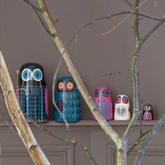 Based on traditional Matrioshka dolls, we have designed a set of nested owls. Aptly named 'Twitwooshkas' they are made from hand painted papier mache by artists in Kashmir, North India. Each one has its own expression and character.