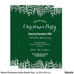 Merry Christmas Invite Rustic Green & Silver