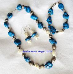 turquoise blue howlite ~ white howlite necklace bracelet & earring set  https://www.facebook.com/beadedmoondesigns