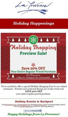 Give your audience the chance to beat the holiday rush — bring people into your store early with a holiday preview sale! You can encourage current customers to bring their friends, and even offer additional discounts for helping you spread the word about the event.