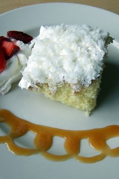 Coconut Poke Cake Recipe. I have had this as my birthday cake since I was a little girl.  I so love it.