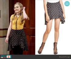 Maya's yellow lace-up top and printed skirt on Girl Meets World.  Outfit Details: https://wornontv.net/59205/ #GirlMeetsWorld