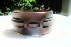 Custom handcrafted  leather wristband brown by LeatherWristbands, $22.50