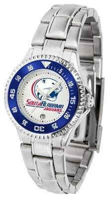 South Alabama Jaguars Competitor Ladies Watch with Steel Band by SunTime. $76.95. Officially Licensed South Alabama USA Jaguars Ladies Stainless Steel Watch. Rotating Bezel. Women. Stainless Steel. Links Make Watch Adjustable. Showcase the hottest design in watches today! The functional rotating bezel is color-coordinated to compliment the NCAA South Alabama Jaguars logo. The Competitor Steel utilizes an attractive and secure stainless steel band.. Save 18% Off!