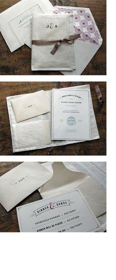 Hand sewn fabric pocket folder invitations by Alana McCann