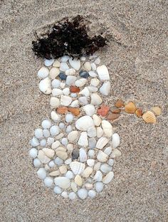 Winter Holidays by the Sea-seashell snowman