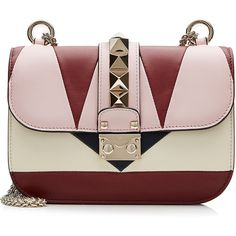 Valentino Lock Color Block Leather Shoulder Bag (61 025 UAH) ❤ liked on Polyvore featuring bags, handbags, shoulder bags, purses, valentino, borse, multicolor, real leather handbags, genuine leather handbags and leather shoulder handbags