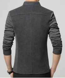 Solid Color Knit Splicing Stand Collar Long Sleeve Slimming Trendy Cotton Blend Blazer For Men in Gray | Sammydress.com Mobile