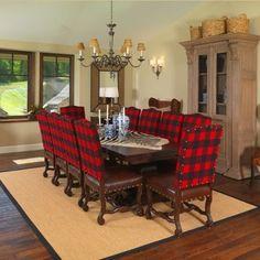 Buffalo plaid dining chairs!  LOVE!