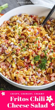 Fritos chili cheese salad is easy to make and the best side salad for summer. This salad is the best replacement for potato salad, it is crunchy and creamy and has chips in it, this salad will become your kid's favorite recipe. This recipe is the perfect salad to serve with grilled meats, it easy to prep and tastes amazing. #fritoschilicheesesalad #easysalad #sidesalad #saladrecipes Potluck Dishes, Potluck Recipes, Side Dish Recipes, Healthy Dinner Recipes, Great Salad Recipes, Summer Salad Recipes, Easy Homemade Recipes, Cheese Salad, Healthy Side Dishes