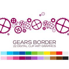 Gears Digital Clipart Borders Digital Borders by coloryourway