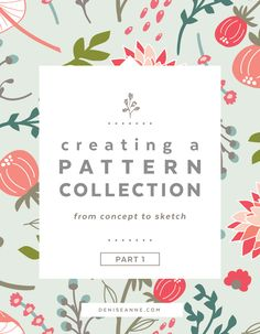 Creating a pattern collection from concept to sketch — Denise Anne - Creating a Seamless Pattern Collection from Concept to Sketch learning surface pattern design - Design Textile, Design Floral, Textile Patterns, Fabric Design, Print Patterns, Pattern Designs, Web Design, Graphic Design Tutorials, Flat Design