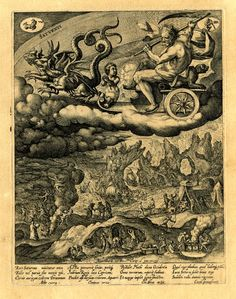 Saturn, holding a scythe, riding in a chariot drawn by two dragons above a hellish landscape that includes: diminuative figures toiling at a mine and a group of females chopping up body parts and roasting them over a fire; at left a skeleton standing in a cauldron and three witches rising upwards around the swirling smoke; on full sheet; after Maarten de Vos