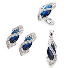 Fashion 925 Silver Plated Copper Zircon Earring Ring And Pendants Set  – USD $ 47.99