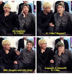 """TaeTaes English is probably the cutest thing ever! I love how Namjoon is just like """".. What the heck have I taught him?.. his kid.."""""""
