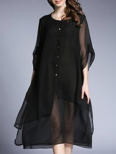 Black Buttoned Solid 3/4 Sleeve Midi Dress