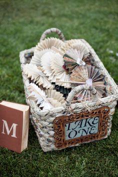 handmade paper fans for guests #handmade #vintagewedding #diywedding http://www.weddingchicks.com/2013/10/29/bookworm-wedding/