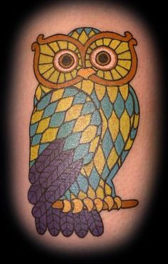 Love the colours in this #tattoo #owl
