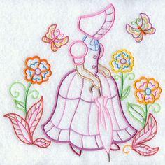 A light-stitching Umbrella Girl machine embroidery design. More cute designs inside.