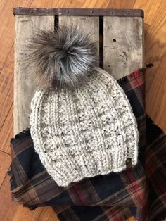 f0ed6e1d4d5 Oatmeal Hand Knit Beanie Wool Blend Fox Tail Faux Fur Pom Pom Hat
