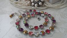WINE NIGHT. Sparkling 8mm Swarovski Necklace set in Silver. Gorgeous Mix of Impressive Color and Spa
