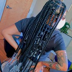 Box Braids Hairstyles For Black Women, Braids Hairstyles Pictures, Black Girl Braids, African Braids Hairstyles, Baddie Hairstyles, Braids For Black Hair, Girls Braids, Hair Pictures, Fly Away Hair