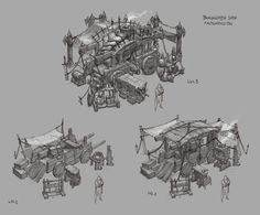 D3 Blacksmith shop sketches, Peet Cooper on ArtStation at https://artstation.com/artwork/d3-blacksmith-shop-sketches