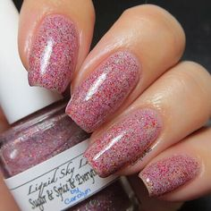 Here is @liquidskylacquer Sugar & Spice & Everything Nice from the Valentine's Day 2016 Collection!  Sugar & Spice & Everything Nice is a slightly textured glitterly holographic dark pink and red fine glitter polish. For this mani I used three thin coats and @mydreampolish Gem Glam top coat. Releasing Wednesday 1.20.16 at 9:00 am PST!  #mydreampolish #liquidskylacquer #polish #nailswag #notd #nailpolish #nails #manicure #nailfeature #lacquer #nailstagram #nailstoinspire #indieswatch…