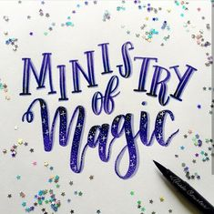 Ministry of Magic Calligraphy Fonts Alphabet, Calligraphy Quotes, Typography, Brush Lettering Quotes, Hand Lettering Styles, Ministry Of Magic, Journal Fonts, Harry Potter Fan Art, Doodles Zentangles