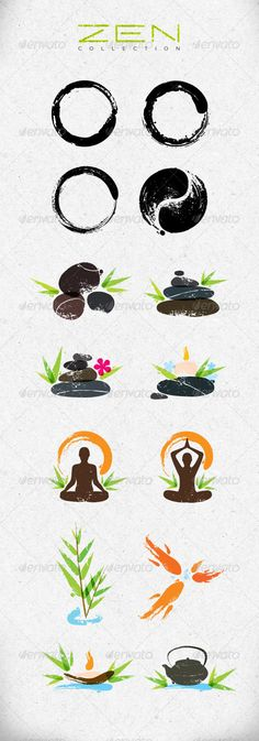 Buy Zen Symbols Creative Vector Design Elements Set by subtropica on GraphicRiver. Our Zen Creative collection is set of original vector design elements, made in bright calligraphy style. Ying Yang Symbol, Zen Symbol, Pintura Zen, Zen Logo, Vector Design, Logo Design, Marie Madeleine, Yoga Workshop, Spiritual Symbols