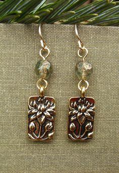 Gold Lotus Earrings Lotus Flower Charm Picasso by BonArtsStudio