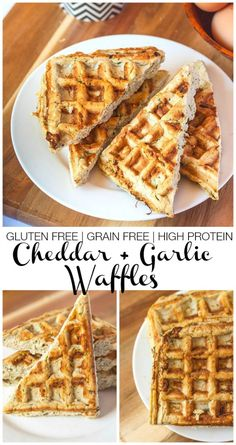 Gluten Free Cheddar Waffles- Gluten Free Cheddar and Garlic waffles which are #glutenfree #highprotein and #grainfree! Perfect for any meal of the day!