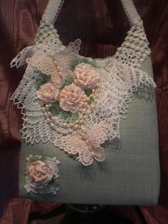 ButterfliesPearls And Roses Chic Handbag by touchograce on Etsy, $55.00