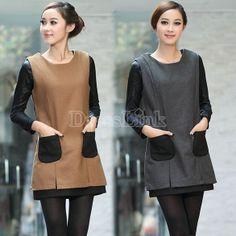Fashion Women's OL Style Slim Sleeveless Round Collar Dress 2Colors