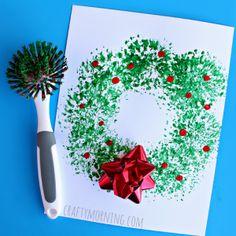 Dish Brush Christmas Wreath Craft for Kids