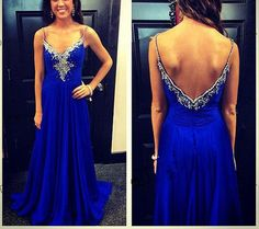 Pretty Blue Spaghetti Straps Full Floor Length Prom Dress 2015, Prom Gowns, Evening Gowns, Formal Gowns