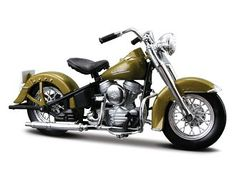 This Harley Davidson Hydra Glide 74FL (1953) Diecast Model Motorcycle is Lime Green and features working stand, steering, wheels. It is made by Maisto and is 1:18 scale (approx. 11cm / 4.3in long).  ...