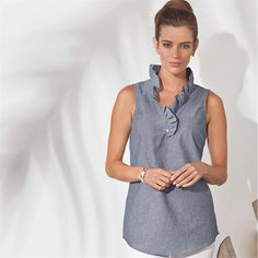 2b6758af93946 Poly cotton chambray sleeveless tunic features ruffle around neckline and  placket with two gold MP