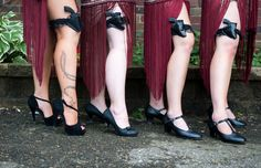1920's gangster themed wedding. Far left looks awesome. You gotta have a good pair of heels.