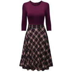 Round Neck  Plaid Midi Skater Dress ($33) ❤ liked on Polyvore featuring dresses, midi dress, calf length dresses, purple dresses, tartan dress and purple skater dress