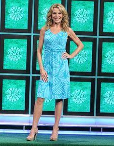 "TOMMY BAHAMA: ""Shells Aswirl"" jersey dress in turquoise & teal abstract shell print, slight v-neckline, sleeveless, banded waist, flared skirt | Wheel of Fortune | Vanna White's dresses"