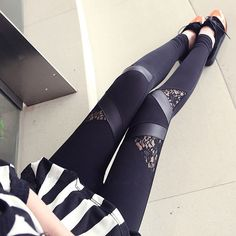 Cheap legging jean, Buy Quality leggings cotton directly from China patchwork skirt Suppliers: Sexy Leggings Triangle patchwork with lace wholesale women trousers Skinny stretchy pants black autumn,spring Lace Leggings, Tight Leggings, Leather Leggings, Leggings Are Not Pants, Awesome Leggings, Leggings Sale, Lace Pants, Gym Leggings, Cotton Pants